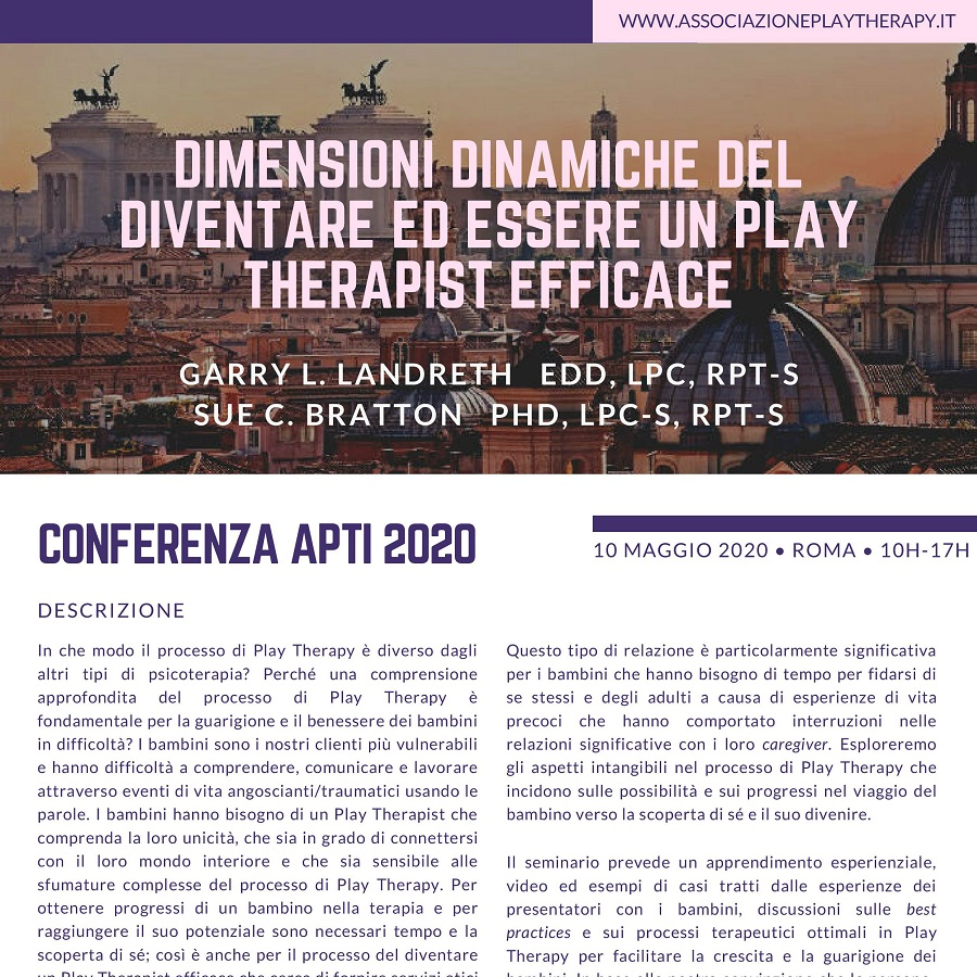 garry landreth e sue bratton presentano una conferenza sulla play therapy a roma